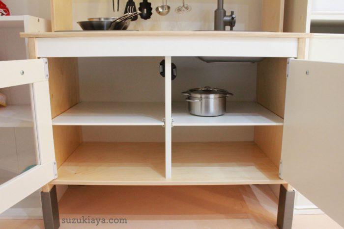 イケアのおままごとキッチンは収納がたくさんある