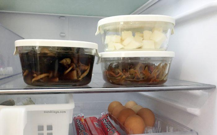 iwakiの耐熱ガラス保存容器に料理を入れて、冷蔵庫に入れてみた