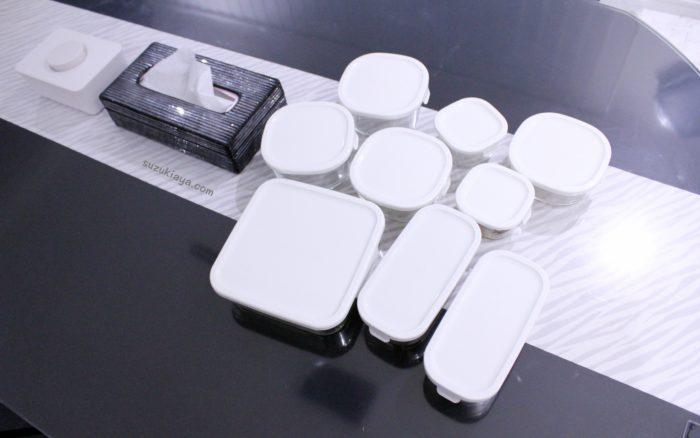 iwakiの耐熱ガラス保存容器、パック&レンジ10点セット
