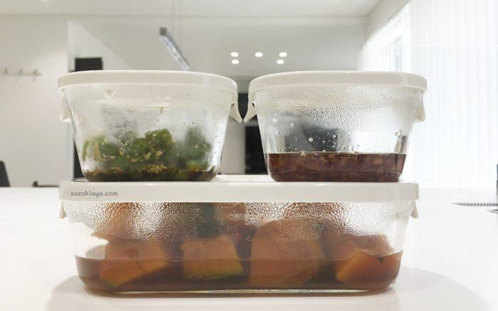 iwakiの耐熱ガラス保存容器、パック&レンジに料理を入れてスタッキング