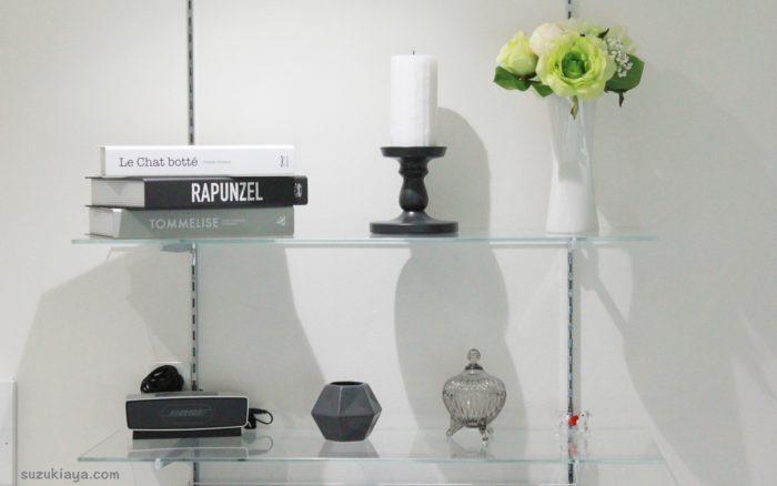 リビングインテリア*ガラス棚をイケアとフランフランの雑貨でおしゃれに飾り付け