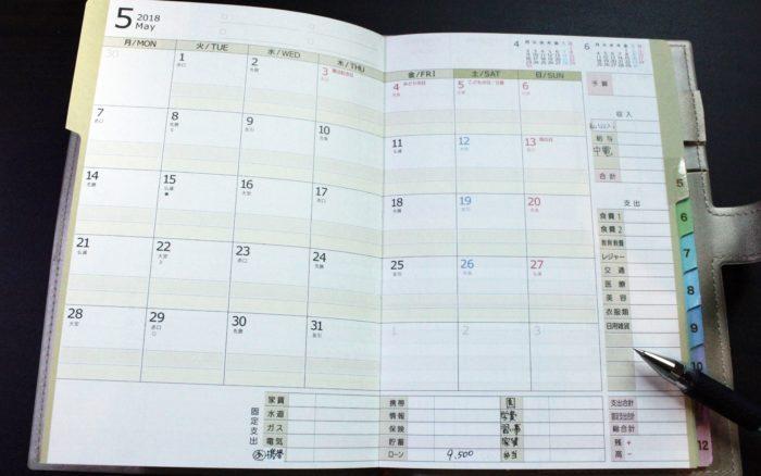 手帳と家計簿が一緒になった月間ページ