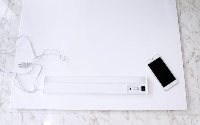 アイリスオーヤマの多目的LED(コンセント式照明)を板に取り付け