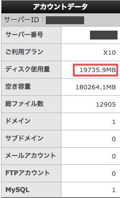 サーバーのディスク使用量が約20GBと多すぎる