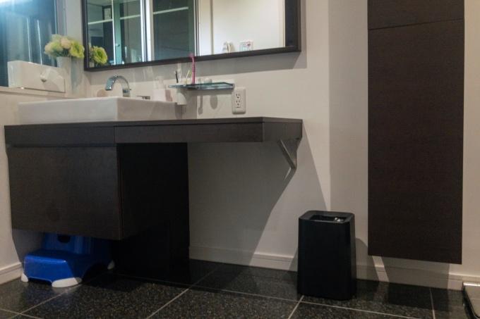 ニトリのゴミ箱を置いた洗面所