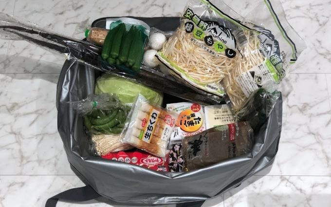 サーモスの保冷買い物カゴ用バッグ(レジカゴバッグ)の食材