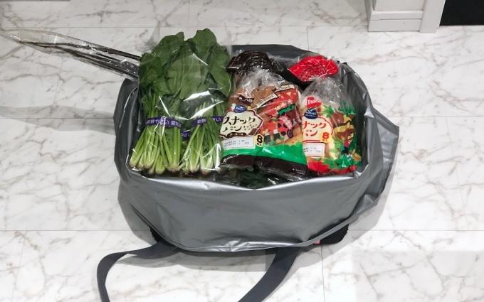 サーモスの保冷買い物カゴ用バッグ(レジカゴバッグ)に入った食材