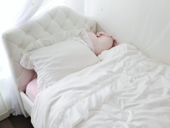5歳女の子の子供部屋。姫系インテリアのプリンセスシングルベッド