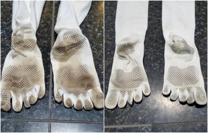 シービージャパン バケツ型小型洗濯機で洗った泥だらけ靴下
