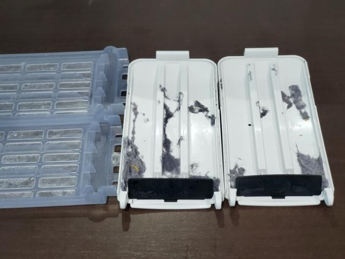 パナソニック洗濯機縦型(NA-FA120V3-W)を口コミレビュー。糸くずフィルターに付いたホコリ