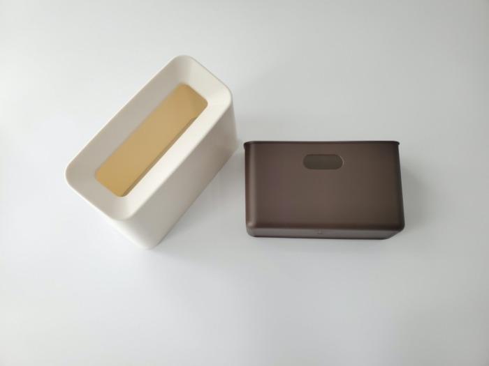 イデアコ(ideaco)のミニ卓上ゴミ箱「チューブラーコットンラッシュ」の本体とカバー