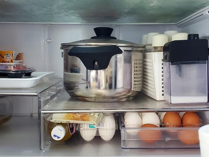 アイリスオーヤマの5L圧力鍋は冷蔵庫にそのまま入る