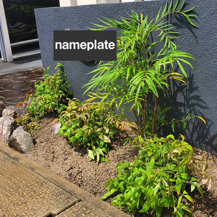 モダン外構門柱前の植栽。マホニアコンフューサ、オタフクナンテン、アジュガ